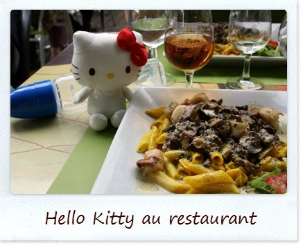 Hello Kitty a mangé au restaurant